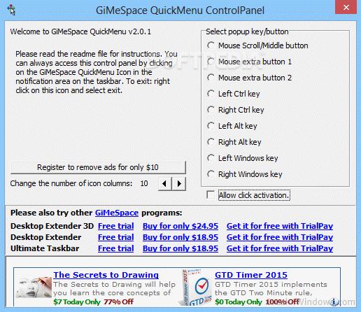 How to crack GiMeSpace QuickMenu