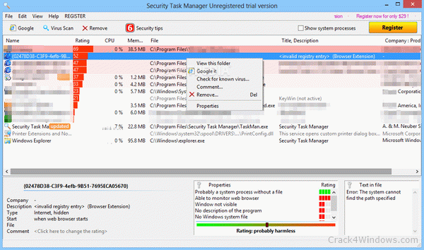 How to crack Security Task Manager Portable