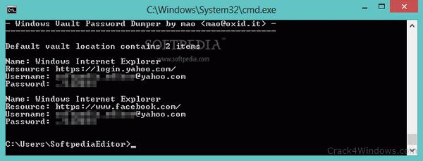 How to crack Windows Vault Password Dumper